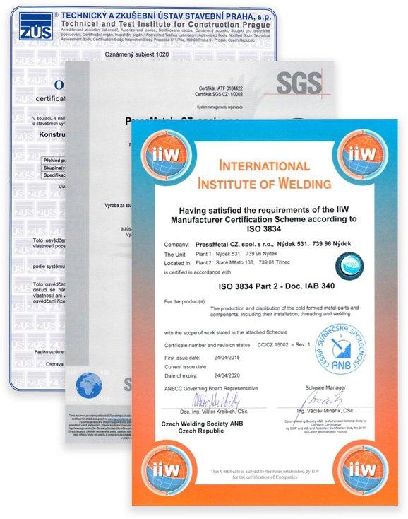 Kovovýroba certifikáty jakosti